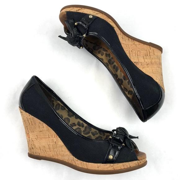 Gold Peep Toe Cork Wedge Heels | Poshmark
